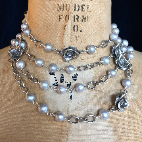 Rose Vine Fresh Water Pearl Necklace