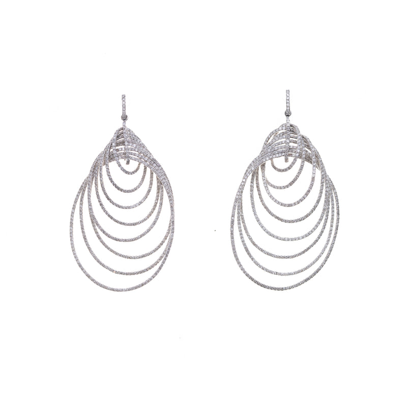 White Gold & Diamond Loop Earrings