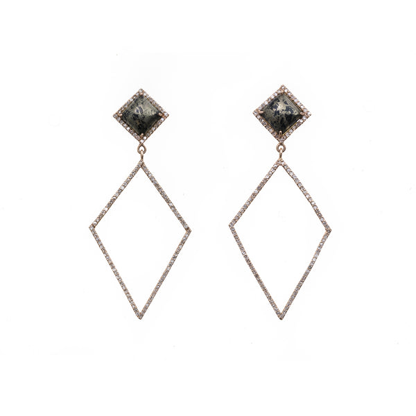 Goldstone and Diamond Shaped Drop Earrings