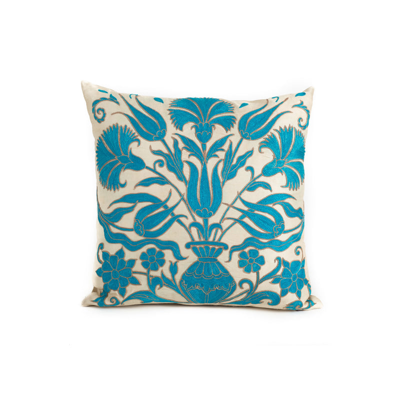 Uzbekistan Pillow Small - White Blue Bouquet