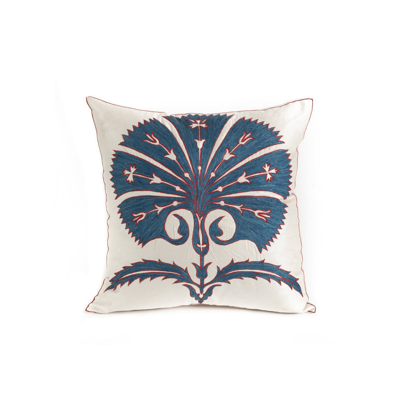 Uzbekistan Pillow Small - White Blue Bloom