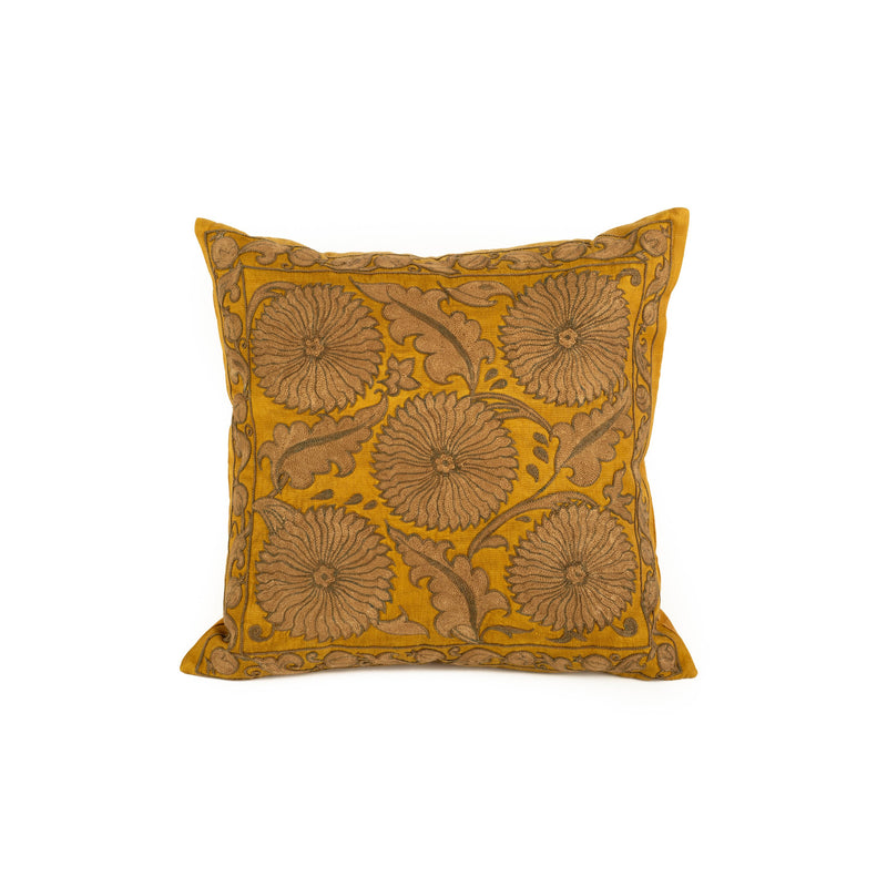 Uzbekistan Pillow Small - Yellow Round Floral