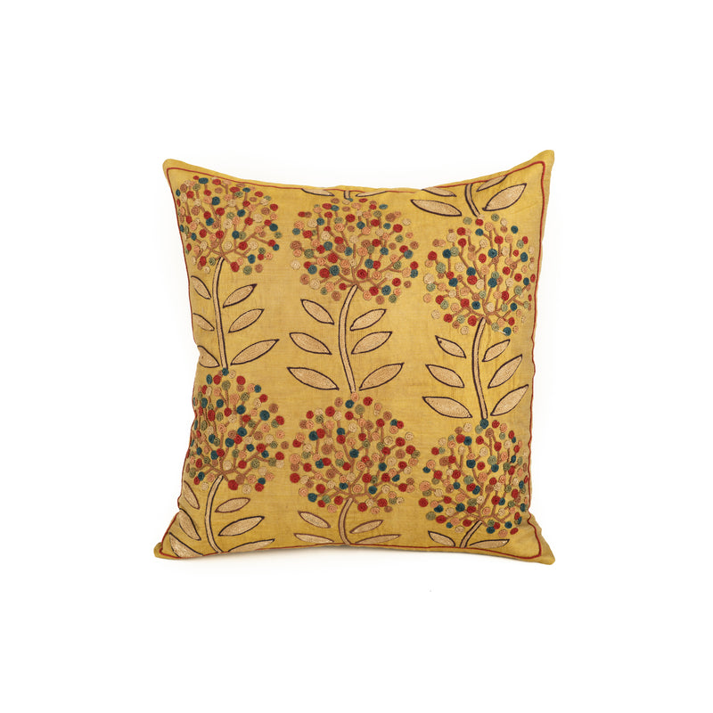 Uzbekistan Pillow Small - Yellow Colorful Blooms