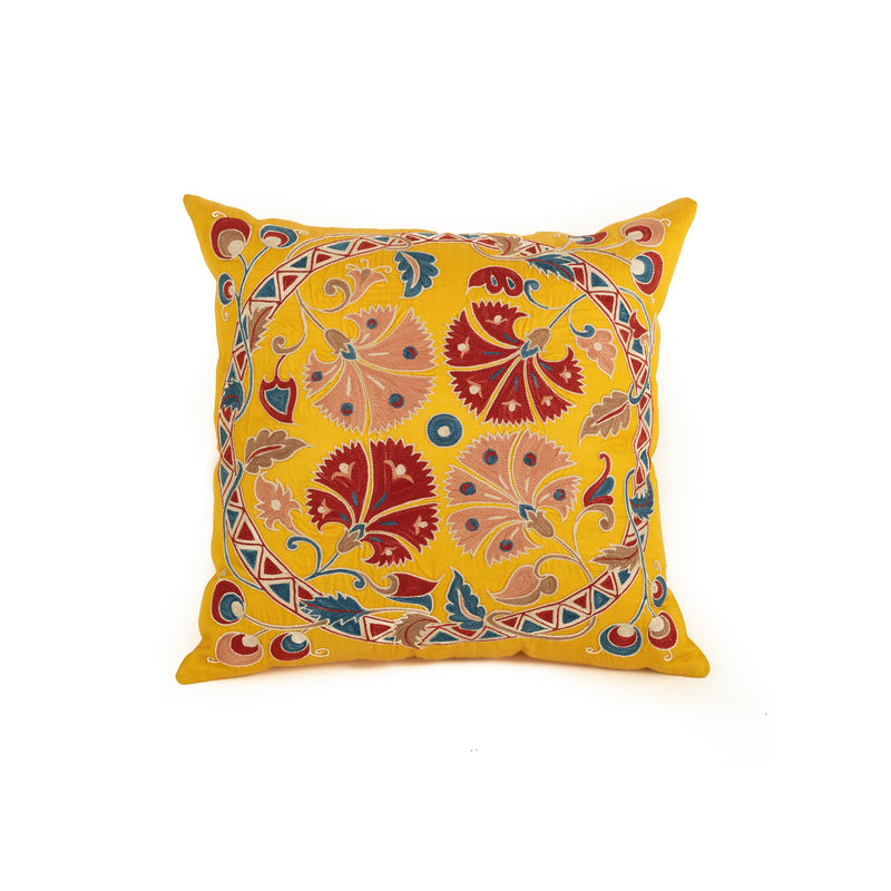Uzbekistan Pillow Small - Yellow Floral Circle