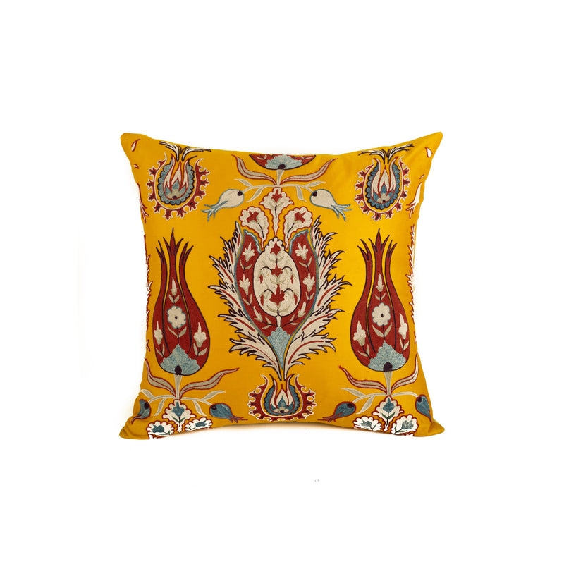 Uzbekistan Pillow Small - Yellow Closed Blooms