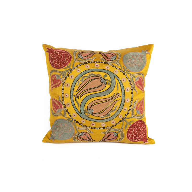 Uzbekistan Pillow Small - Yellow Pomegranates