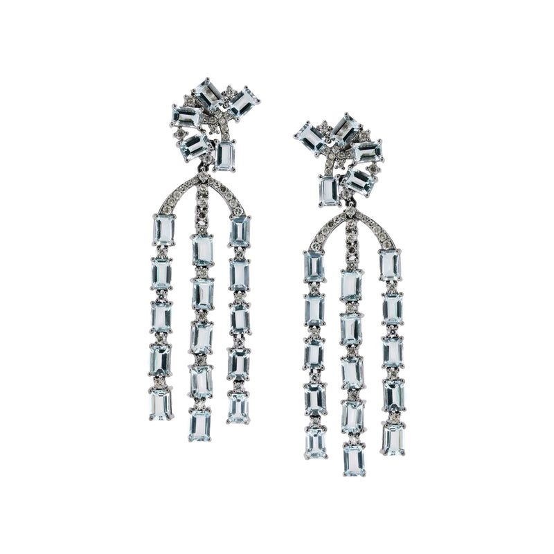 Aquamarine and Diamond Art Deco Earrings