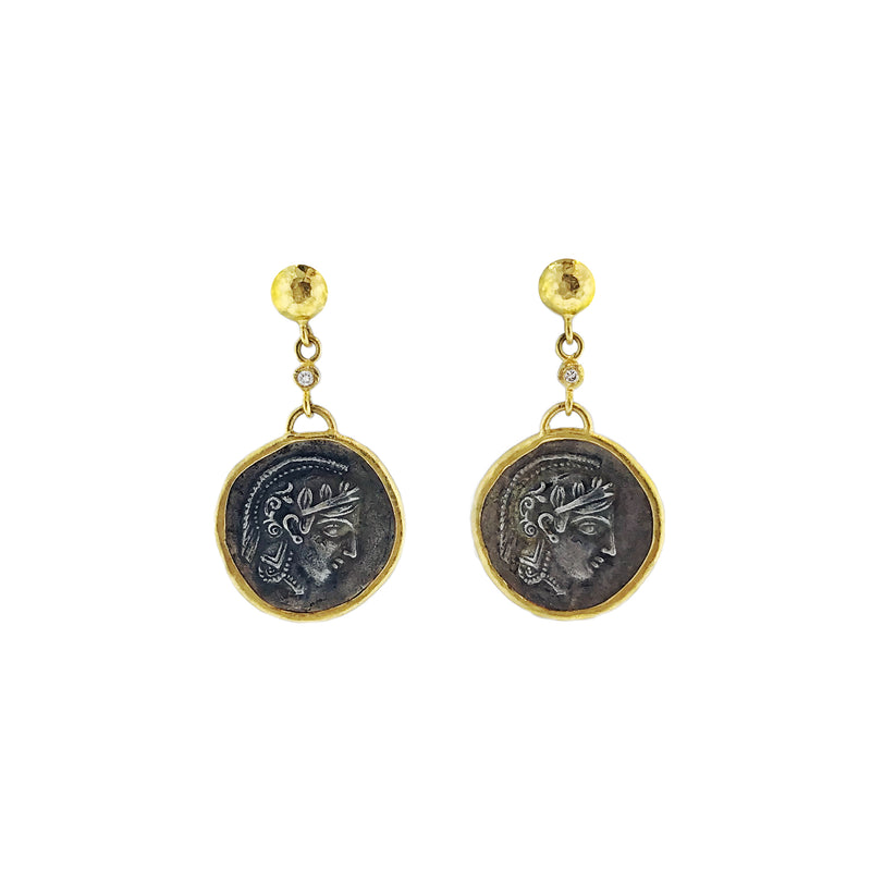 24K Gold and Silver Athena Earrings