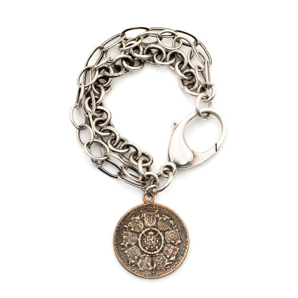 WW1 Winged Victory Angel Statement Coin Bracelet
