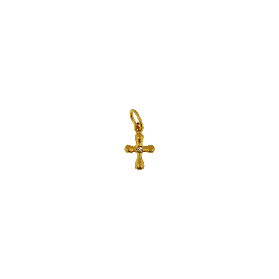 Extra Small Diamond Center Cross Pendant