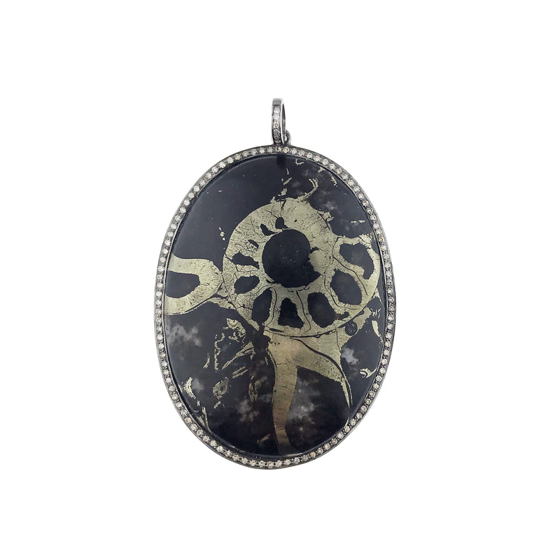 Pyrite Ammonite Rose Cut Diamond Silver Pendant