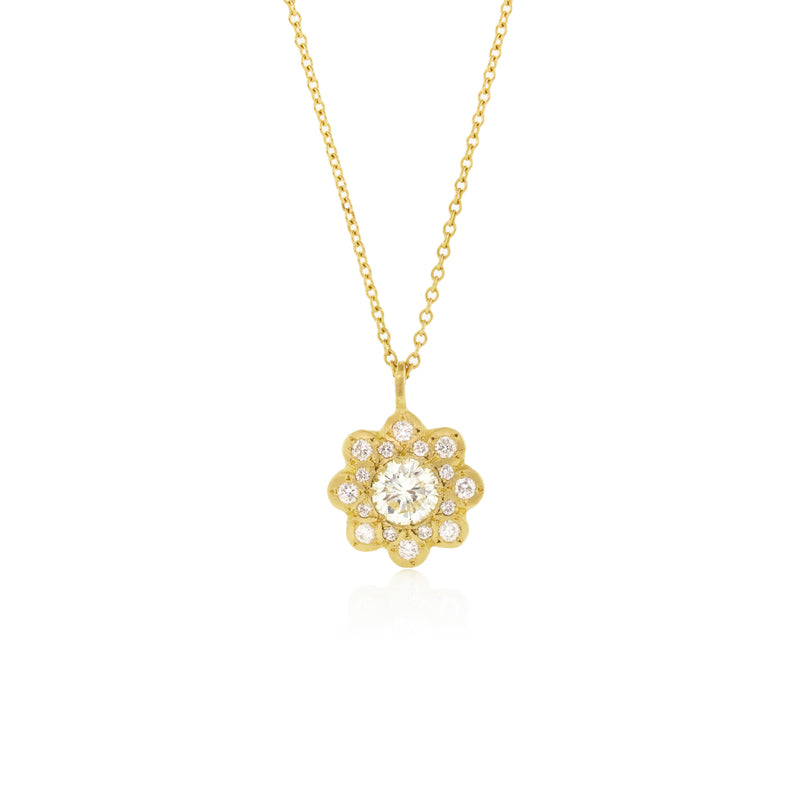 Gold Diamond Moonflower Pendant