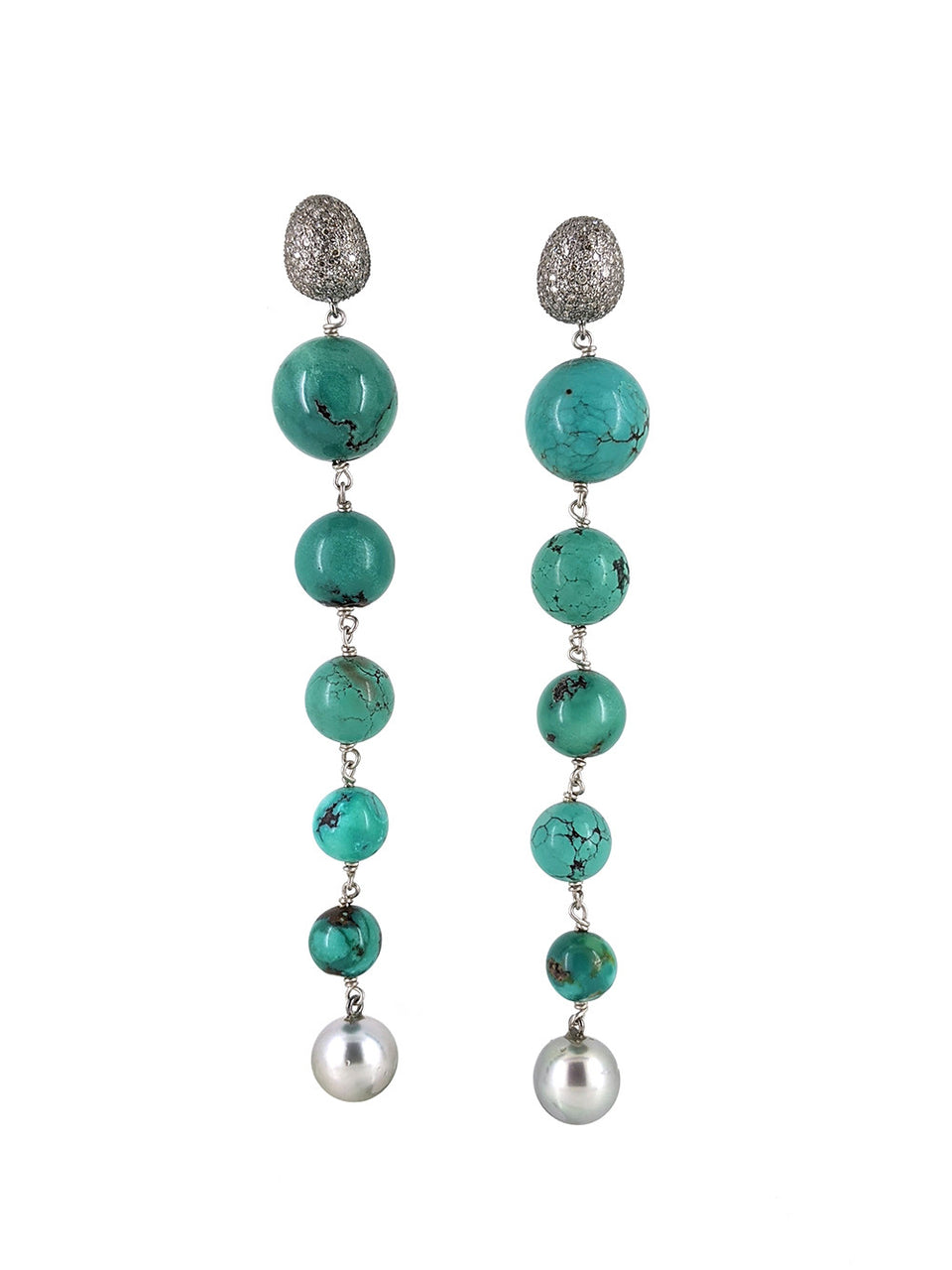 Turquoise and Precious Pearl Long Drop Earrings