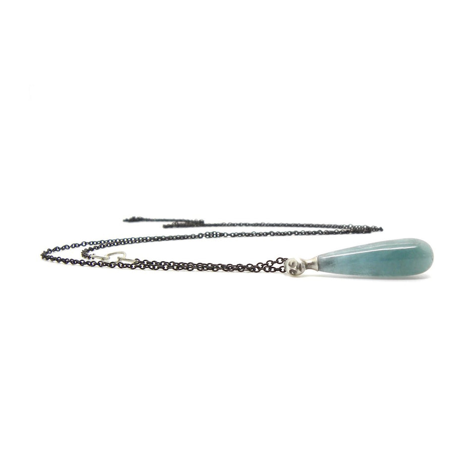 Cyan Aquamarine Cameo Necklace