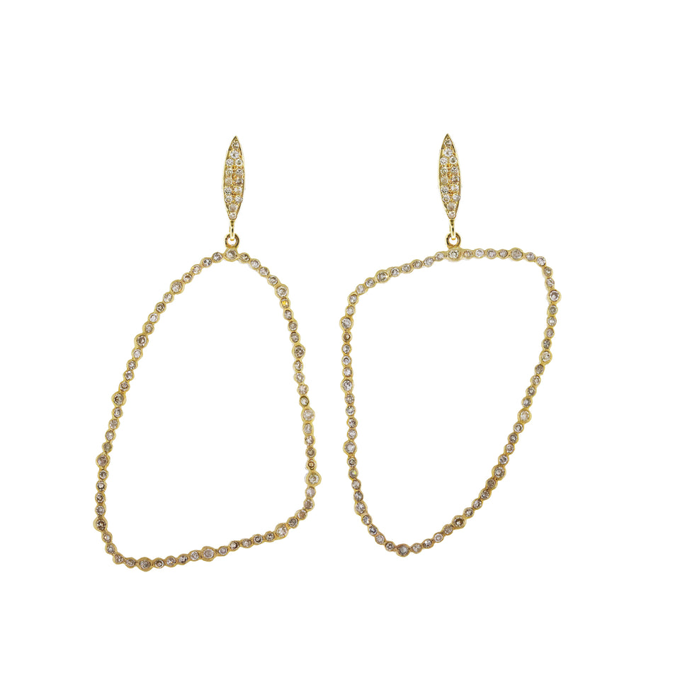 Hollow Asymmetric Gold Drop Earrings