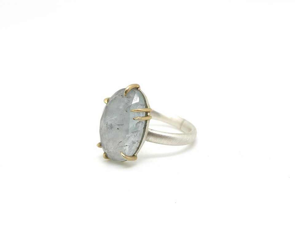 Faceted Aquamarine Vanity Ring