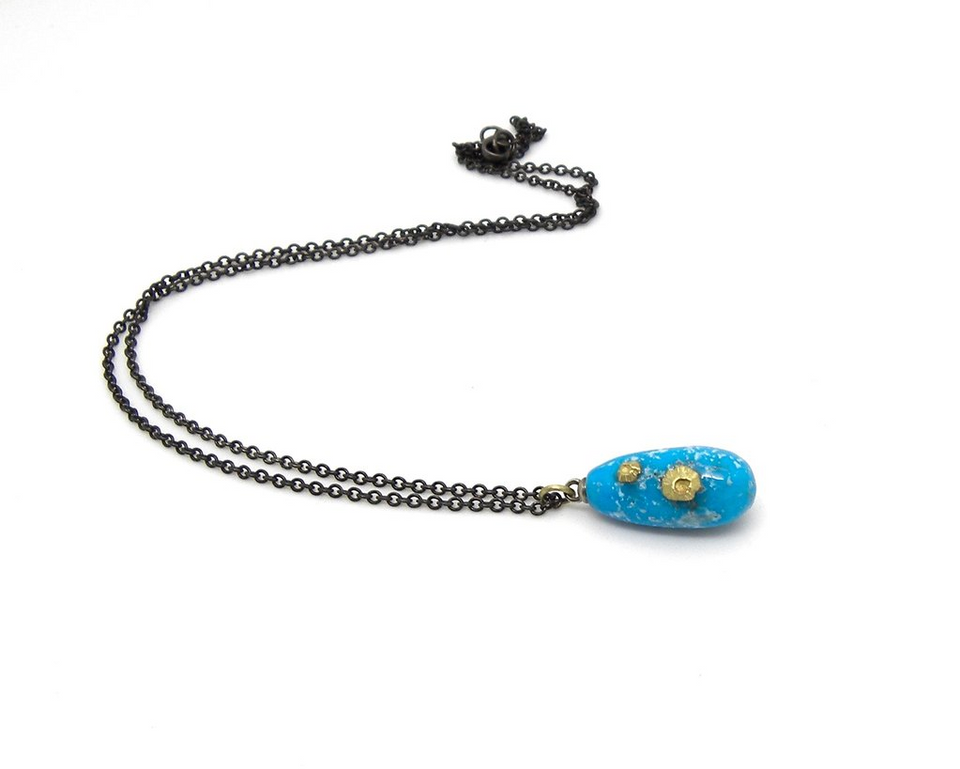 Persian Turquoise Buoy Ruthie B. Necklace with Barnacles