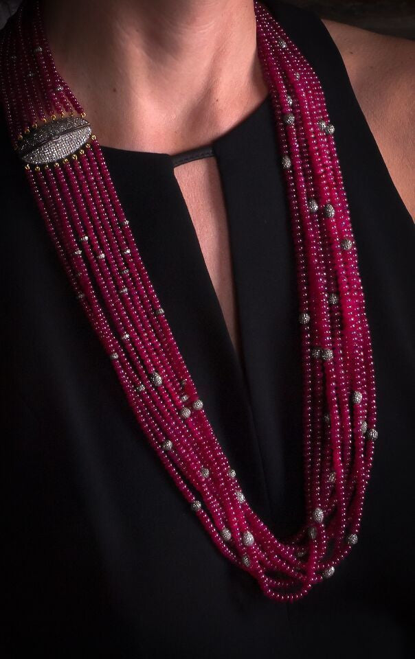 Multi-Strand Ruby Necklace with Diamond Spacers and Clasp