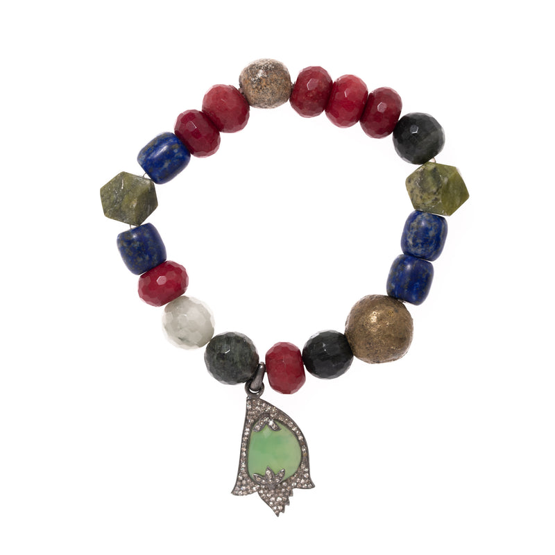 Red Jade, Lapis, Jade, Moss Agate, Dinosaure Bone, African Brass with Silver Diamond and Chrysoprase Pendant Bloom Bracelet