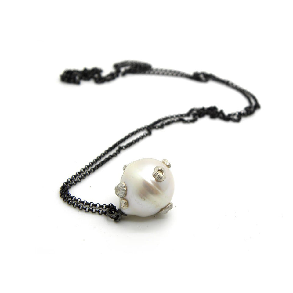 Grand White Baroque Pearl Ruthie B. Necklace with Barnacles