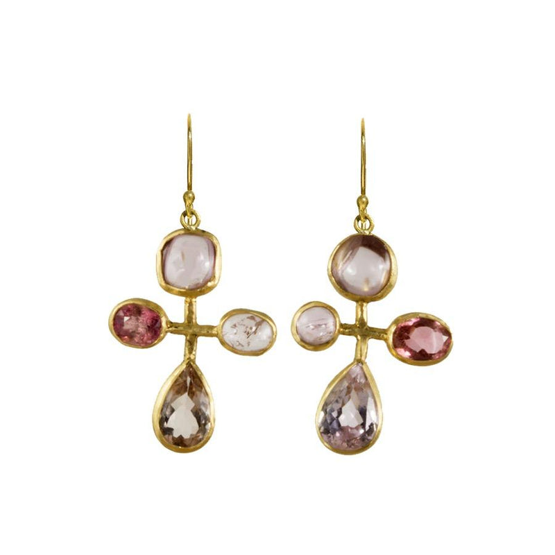 Kunzite, Tourmaline, and Spinel Quatrefoil Earrings
