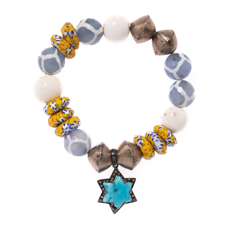 African Clay, Brass, Shell, and Painted Geode with Diamond, Silver and Turquoise Star Pendant Bloom Bracelet