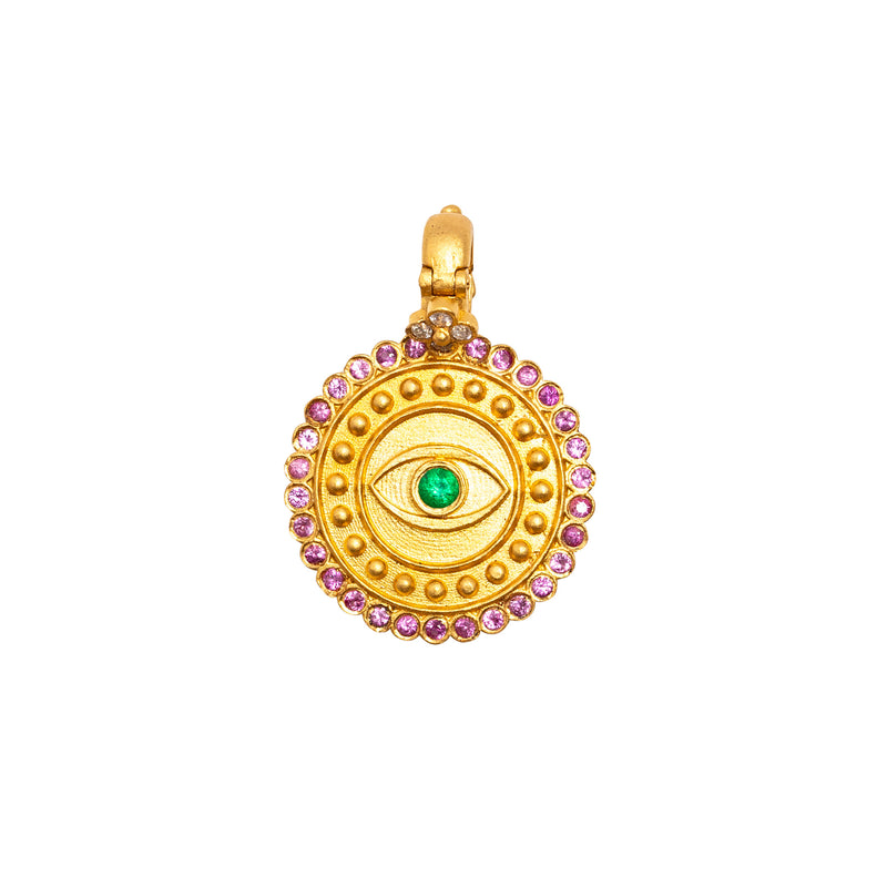 Evil Eye Pink Sapphire and Emerald Pendant