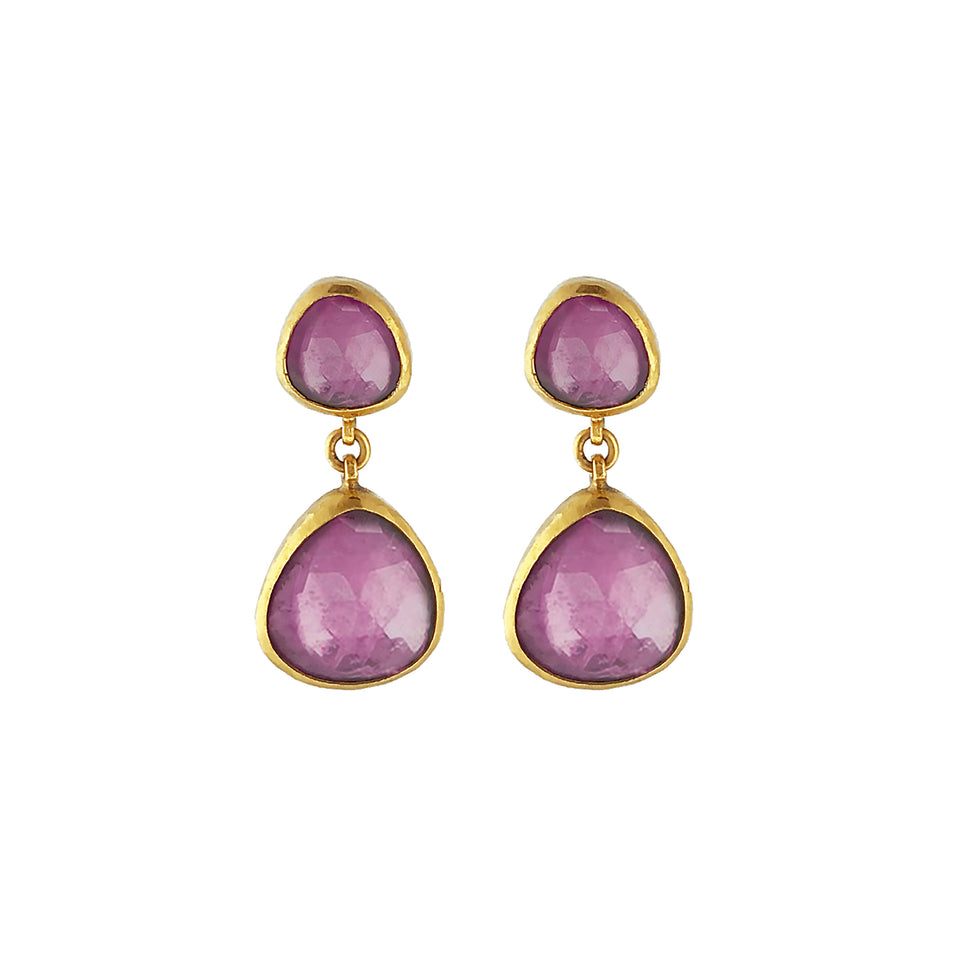 One of a kind 24K Gold Elements Hue Double Drop Earring