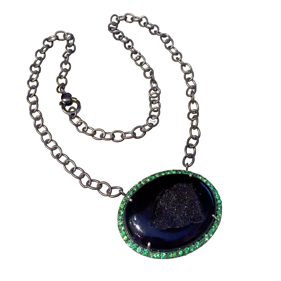 Black Druzy with Tsavorite Necklace