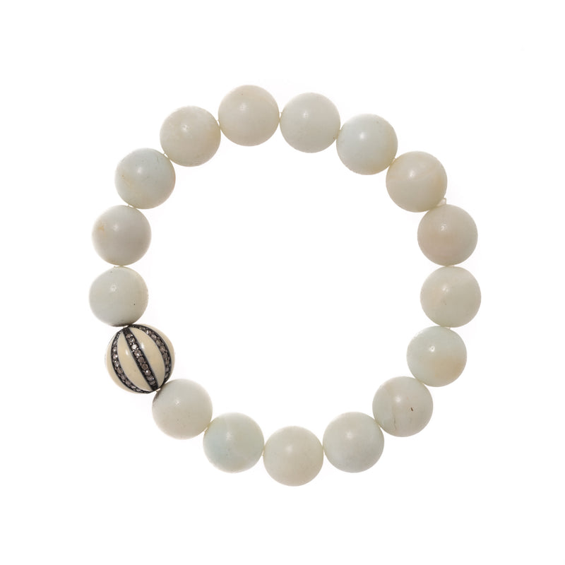 White Jade Beads with Enamel and Diamond Bead Bloom Bracelet