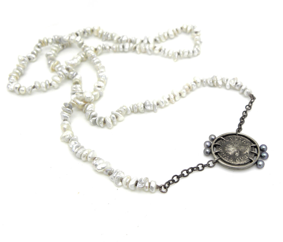 Juno Ancient Coin Pearl Vanity Necklace