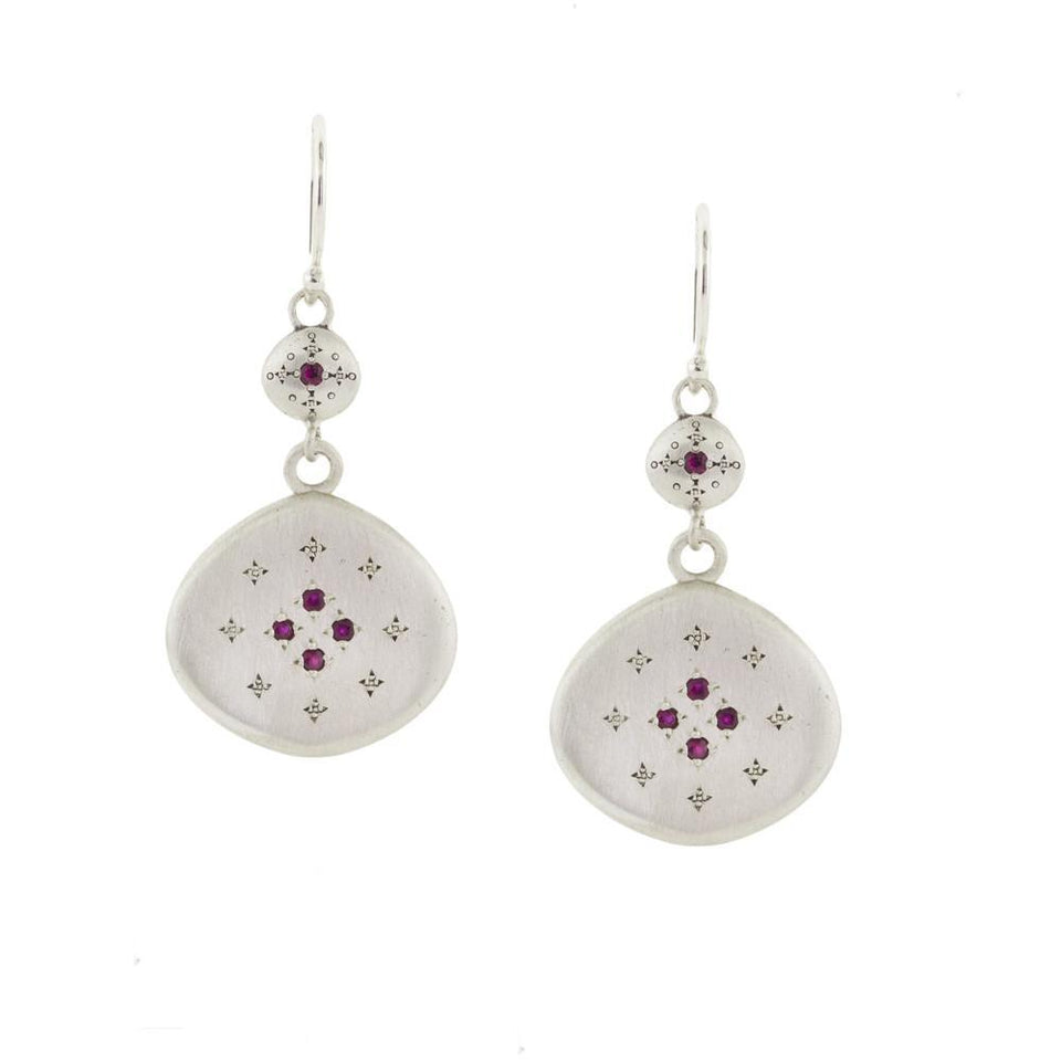 Silver Lights Earrings With Charms Ruby
