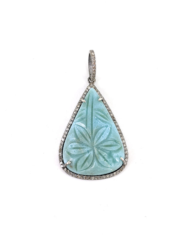 Carved Amazonite Hanging Flower Pendant