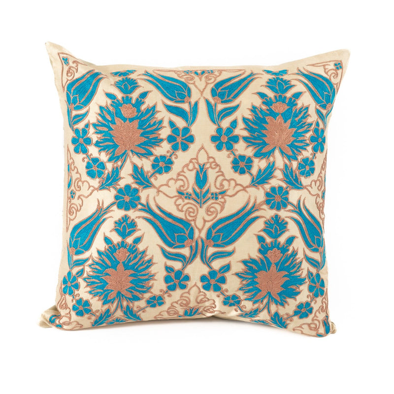 Uzbekistan Pillow Small Square - Ivory with Blue and Bronze Blooms