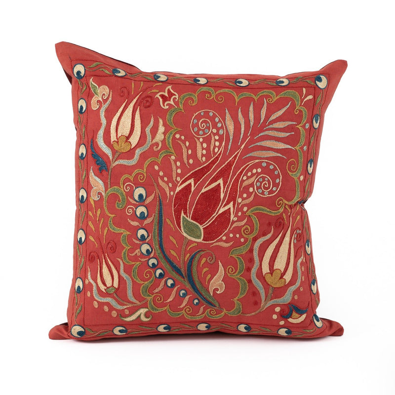 Uzbekistan Pillow Small Square - Red with Colorful Blooms