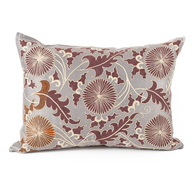 Uzbekistan Pillow Large Rectangle - Gray with Purple Blooms