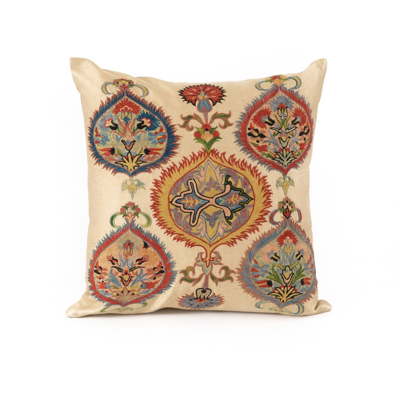 Uzbekistan Pillow Small Square - Ivory with Colorful Vignettes