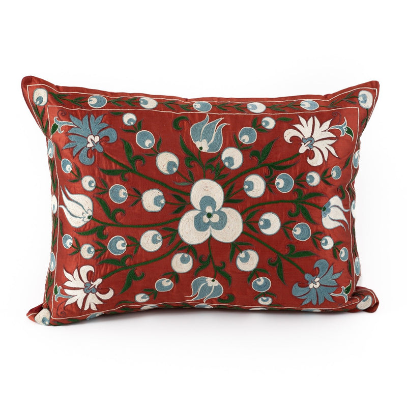 Uzbekistan Pillow Large Rectangle - Red with Green Vines and Blue and White Blooms