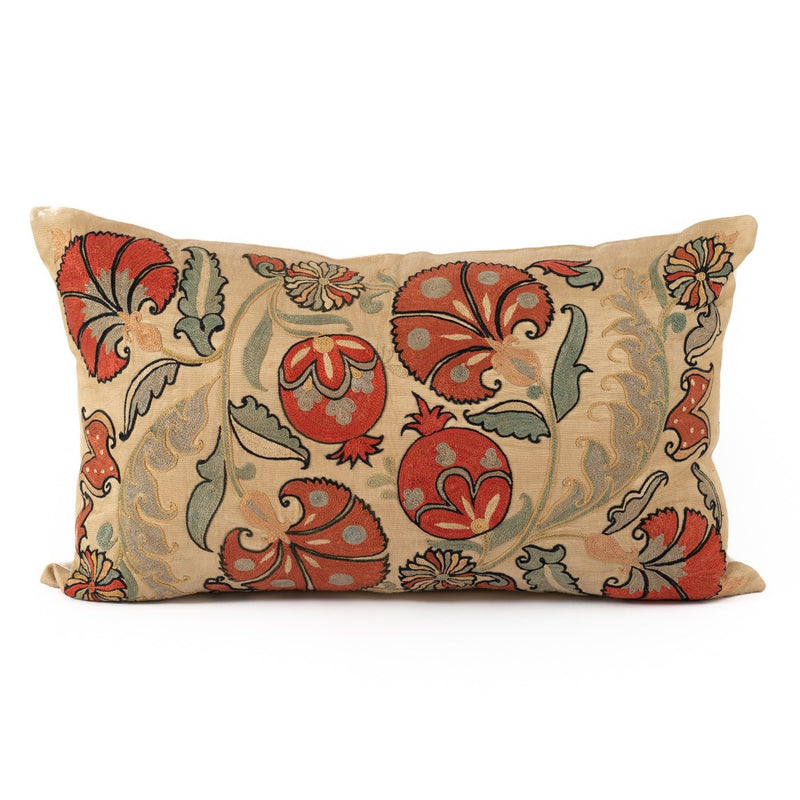 Uzbekistan Pillow Large Rectangle - Ivory with Pomegranates and Blooms