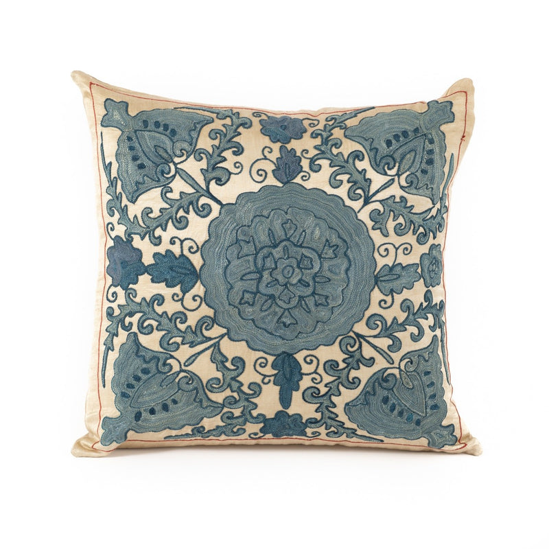 Uzbekistan Pillow Small Square - Ivory with Blue Floral