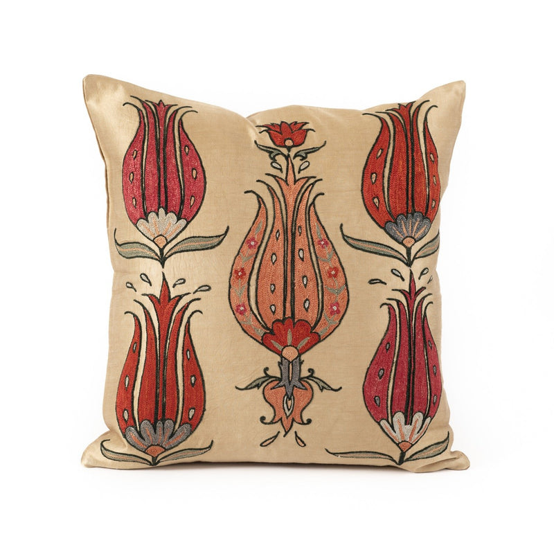 Uzbekistan Pillow Small Square - Ivory with Red Blooms