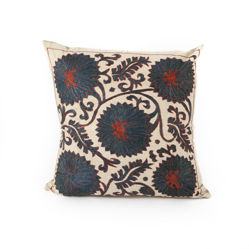 Uzbekistan Pillow Small Square - White with Blue Blooms