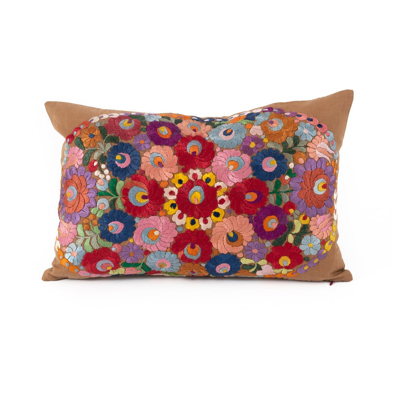 Uzbekistan Pillow Large Rectangle - Gray with Colorful Flowers
