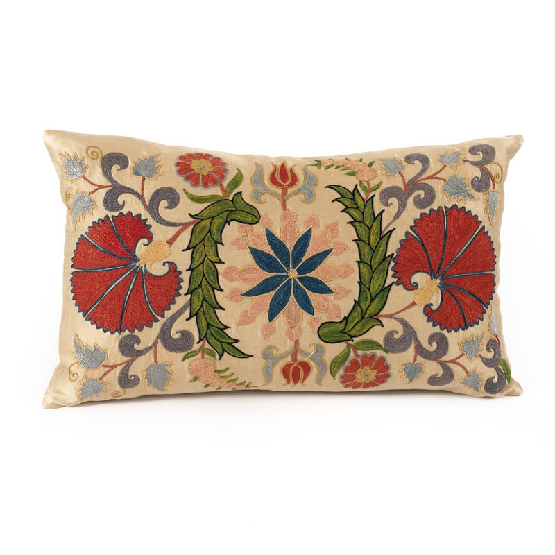 Uzbekistan Pillow Large Rectangle - Ivory with Colorful Floral