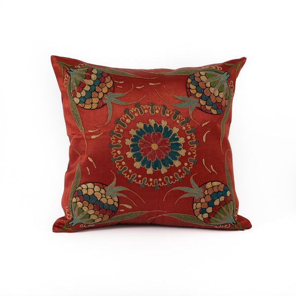 Uzbekistan Pillow Small Square - Red with Colorful Pomegranates