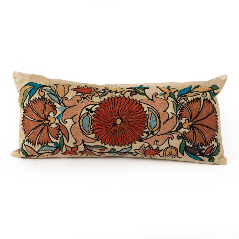 Uzbekistan Pillow Small Lumbar - Ivory with Colorful Floral