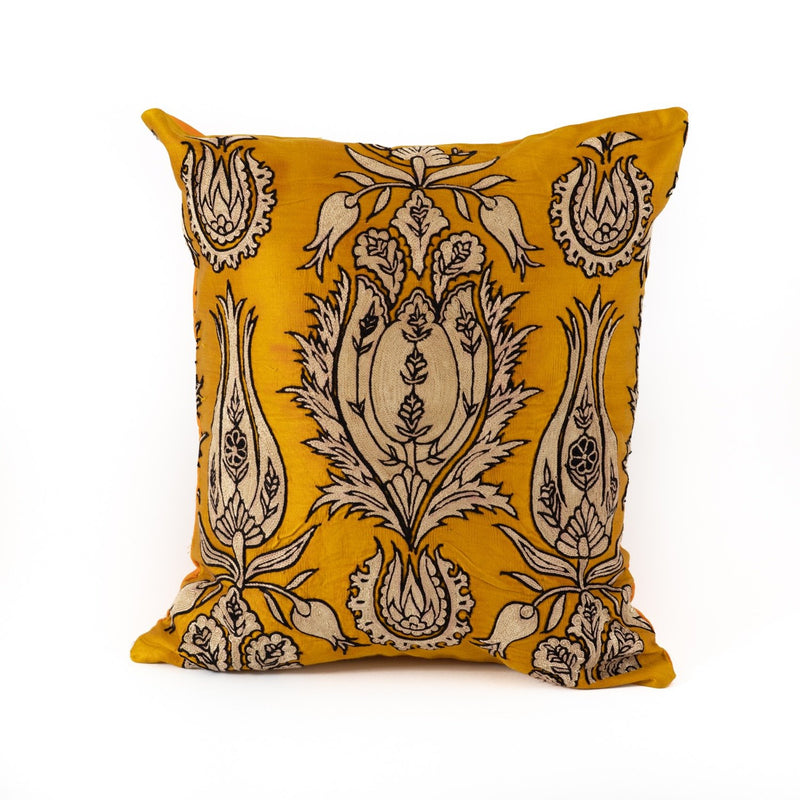 Uzbekistan Pillow Small Square - Yellow with White Blooms
