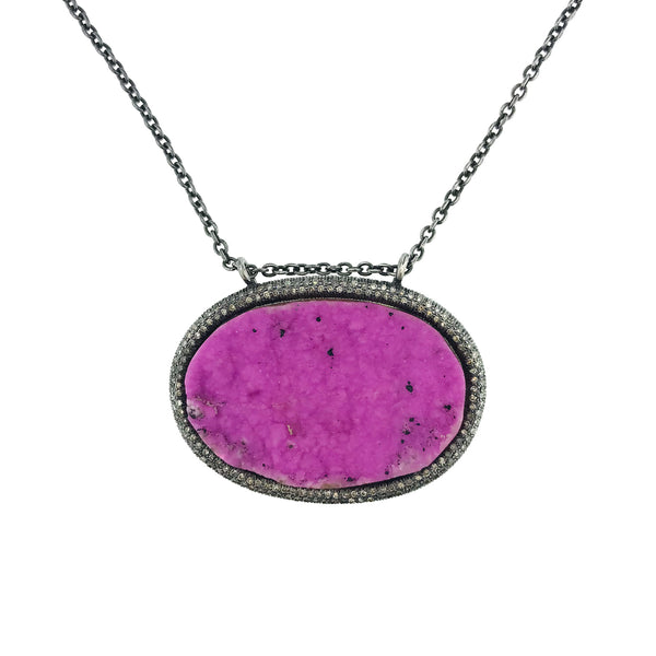 Cobalto Calcite Druzy Necklace
