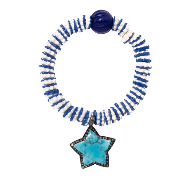 African Vinyl Beads with Diamond Silver and Turquoise Star Pendant Bloom Bracelet