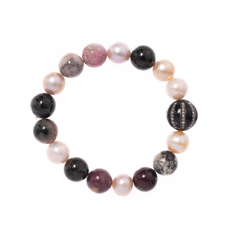 Pearls and Lepidolite Beads with Enamel and Diamond Bead Bloom Bracelet